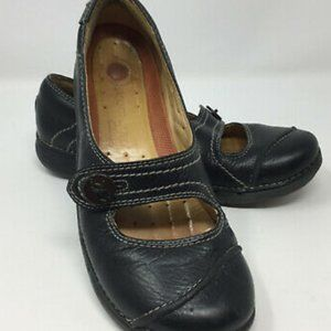 Clarks Black Leather Unstructured Mary Janes Sz 7